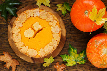 Pumpkin Pie on Thanksgiving Day feast.
