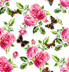 Pink roses and butterflies. Seamless pattern with blooming roses. Flower backdrop. Watercolor hand drawing illustration.