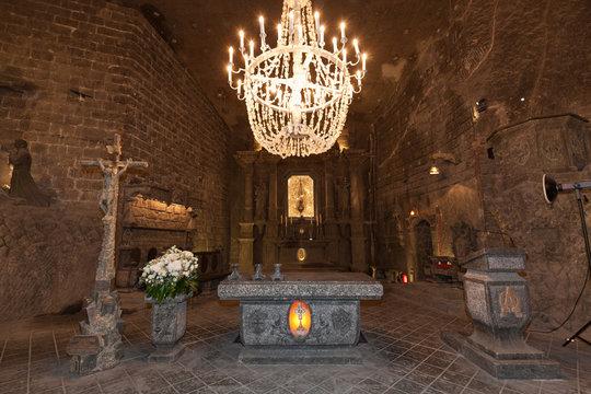 Alter in St. Kinga's Chapel inside Wieliczka salt mine in Poland
