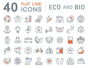Set Vector Flat Line Icons Eco and Bio