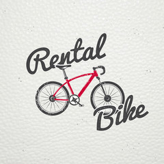 Rent, sale and repair - bicycles, mopeds and scooters. Bicycling Club. Detailed elements. Old retro vintage grunge. Scratched, damaged, dirty effect. Typographic labels, stickers, logos and badges.
