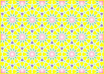 Colorful geometric figures Arab and oriental imitating stained glass golden yellow and gradient pink