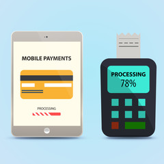 payment via tablet. Vector