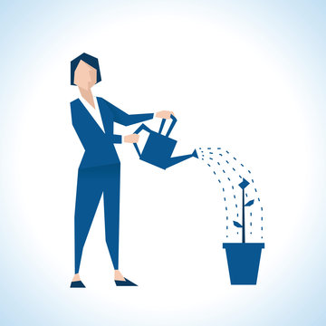 Illustration Of Businesswoman Watering Plant In Pot