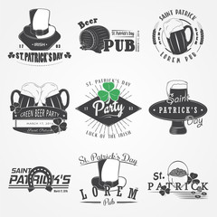 Saint Patricks Day set. Luck of the Irish. Detailed elements. Typographic labels, stickers, logos and badges.