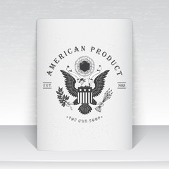 American gun shop. Firearms store. Hunting gun. Detailed elements. Scratched, damaged, dirty effect. Typographic labels, stickers, logos and badges. Sheet of white paper.