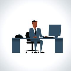 Illustration Of Businessman Sitting At Desk Using Computer