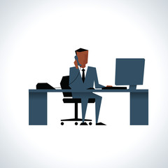 Illustration Of Businessman On Phone Sitting At Desk On