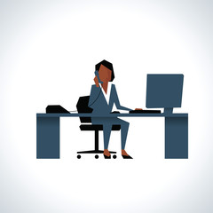 Illustration Of Businesswoman On Phone Sitting At Desk On