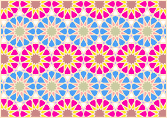 Geometric figures of styles arabic and oriental very colouring blue pink dark red and yellow