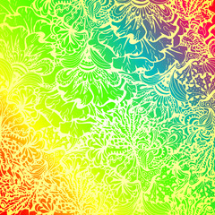 Rainbow colored doodle style ornament.