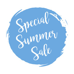 Special Summers Sale grunge style blue colored on white background