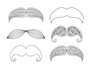 Set of graphic ornamental mustaches.