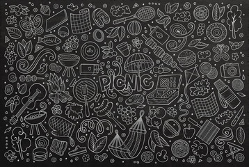 chalkboard vector doodle cartoon set of picnic objects