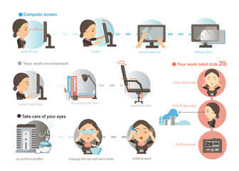 Eyes Care/Working women Prevention of Eye Fatigue.illustrations ,cartoon,vector