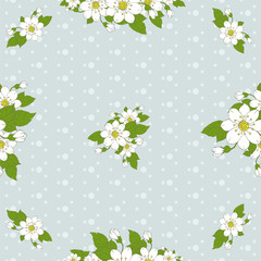 Seamless vector pattern of floral and dots.