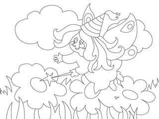 Beautiful cartoon fairy on the meadow. For coloring book.