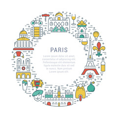 Vector Flat Line Banner Paris and France