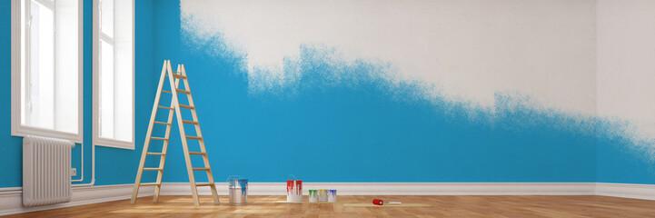 Obraz Renovierung einer Wand in blau - fototapety do salonu