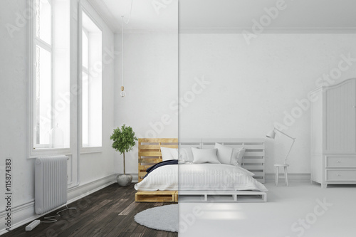 schlafzimmer mit palettenbett in wei und bunt stockfotos und lizenzfreie bilder auf fotolia. Black Bedroom Furniture Sets. Home Design Ideas
