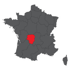 Limousin red on gray France map vector