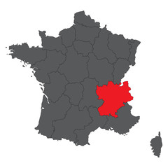 Rhone-Alpes  red on gray France map vector