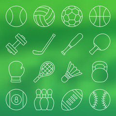 Vector illustration. Line icon set. Sports equipment in simple design. Balls and other sports equipment