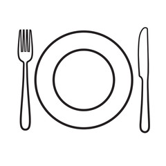 Plate with fork and knife icon, laying the table
