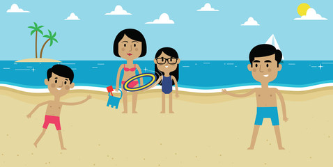 Illustration Of Family Enjoying Beach Vacation Together