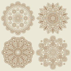 Set of Indian doodle boho floral mehendi mandalas. Vector illustration
