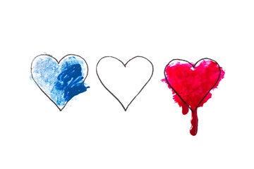 Tragedy in Nice, France. Heart painted in watercolor. Pray for Nice.