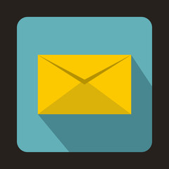 Yellow closed envelope icon in flat style on a baby blue background