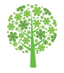 Fresh green background. Leaf tree. Vector