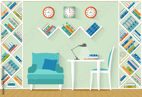 Interior Design With Furniture Shelves Books In Flat Style The Office Home
