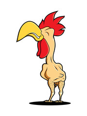 funny naked rooster cock chicken logo food farm industry restaurant mascot fast food