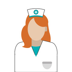 flat design female nurse icon vector illustration