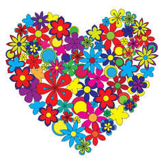 Decorative heart made of colorful flowers.