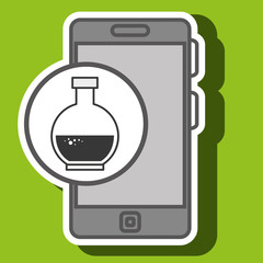 smartphone blue lab tube isolated icon design, vector illustration  graphic