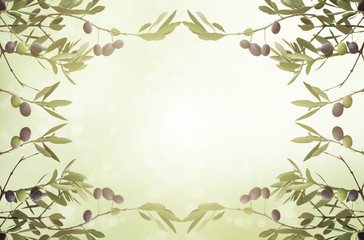 Floral natural sunny organic food background with frame from olive tree branches, green leaves anf fruits, can be used for cards, posters and web