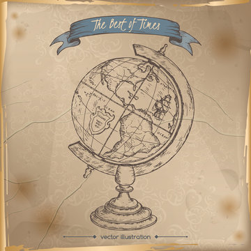Antique globe hand drawn sketch placed on old paper background.