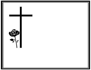 Traueranzeige mit Kreuz und Rose