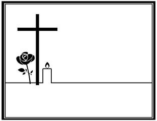 Traueranzeige Modern mit brennender Kerze, Rose und Kreuz