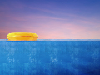 pool side view with yellow swim ring