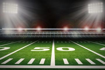 50 yard line on football field with stadium