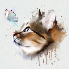 portrait of cat with butterfly