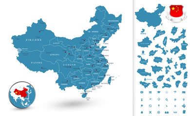 Map of China with regions
