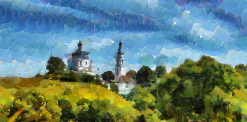 summer landscape, dense forests and the Church on the mountain in the style of impressionism