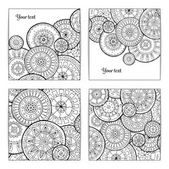 Set of White and Black Pattern With Circle Shape. Abstract Doodl