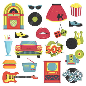 Collection of vintage retro 1950s style items that symbolize the 50s decade fashion accessories, style attributes, leisure items and innovations.