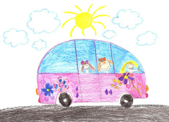 Happy children riding in car. Drawing